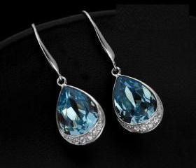 Solid 925 Sterling Silver With Swarovski Rhinestone Lady Earrings