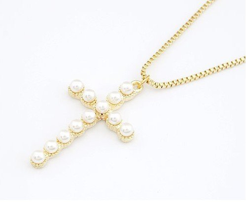 Fashion Necklace style Gold Pearls Cross